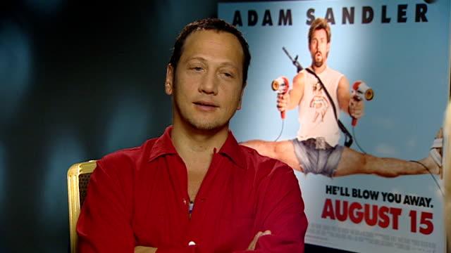 rob schneider interview sot - discusses new film 'you don't mess with the zohan' adam sandler interview sot - discusses new film 'you don't mess with... - アダム・サンドラー点の映像素材/bロール