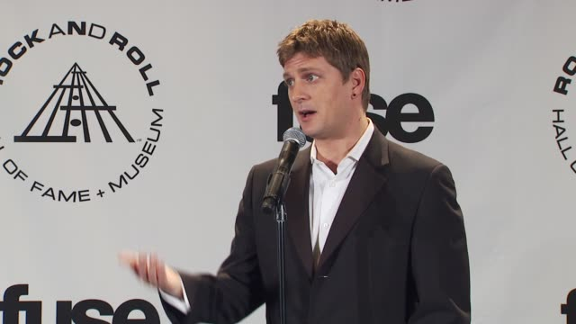 Rob Thomas on working with Carlos Santana and writing for other artists at the 25th Annual Rock And Roll Hall Of Fame Induction Ceremony Press Room...
