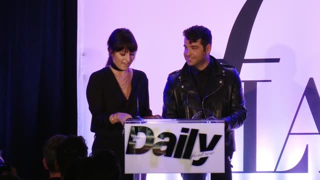 SPEECH Rob Zangardi and Mariel Haenn accepts award thanks JLO and The Daily at the The Daily Front Row Hosts 2nd Annual Fashion Los Angeles Awards at...