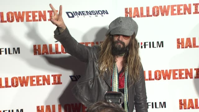 rob zombie at the 'halloween ii' premiere at hollywood ca - rob zombie stock videos & royalty-free footage