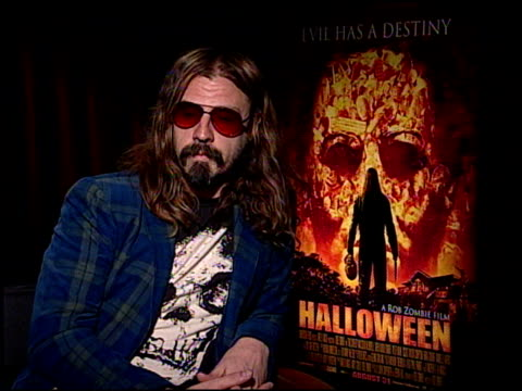 rob zombie discusses his wife being in the film at the 'halloween' press junket at the four seasons hotel in los angeles california on august 21 2007 - rob zombie stock videos & royalty-free footage