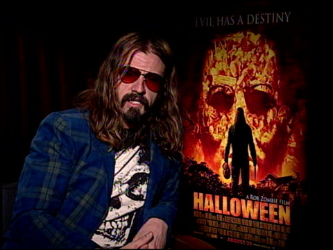 rob zombie discusses working as a director and compares being a musician and a director at the 'halloween' press junket at the four seasons hotel in... - rob zombie stock videos & royalty-free footage