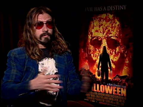 rob zombie discusses working as a director and what he thinks other people may think about him at the 'halloween' press junket at the four seasons... - rob zombie stock videos & royalty-free footage