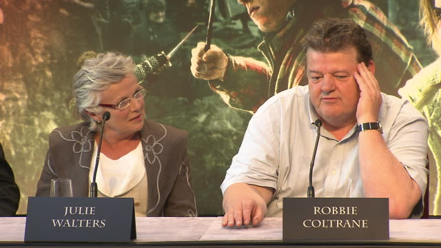 Robbie Coltrane on his favorite line from the films at the Harry Potter The Deathly Hallows Part 2 Press Conference at London England