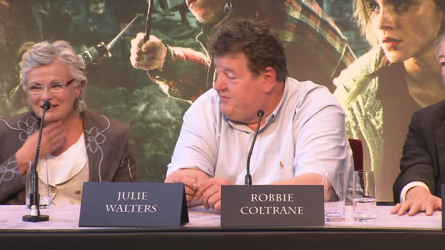 Robbie Coltrane on his favorite prop form the film at the Harry Potter The Deathly Hallows Part 2 Press Conference at London England