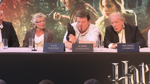 robbie coltrane on jk rowling saying he was the best person to play hagrid at the harry potter & the deathly hallows part 2 press conference at... - robbie coltrane stock videos & royalty-free footage