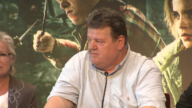 Robbie Coltrane on what he's going to miss most about playing Hagrid at the Harry Potter The Deathly Hallows Part 2 Press Conference at London England