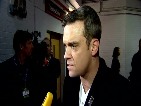 Robbie Williams on how he's feeling about performing tonight on winning the Outstanding Contribution To Music Awards at the The Brit Awards 2010 at...