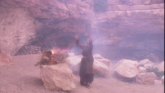a robed man stands beside an altar as smoke rises from a sheep being burned as an offering to god. - prete video stock e b–roll