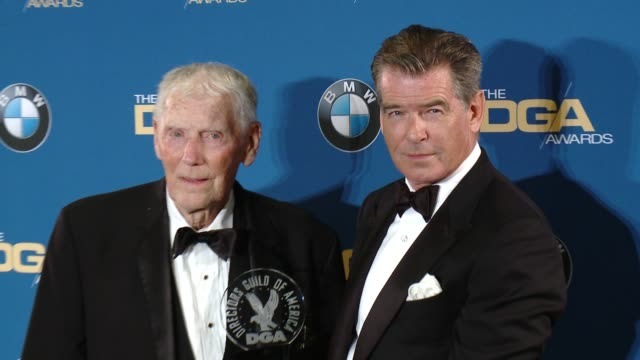 robert butler and pierce brosnan at the hyatt regency century plaza on february 07 2015 in century city california - pierce brosnan stock videos and b-roll footage