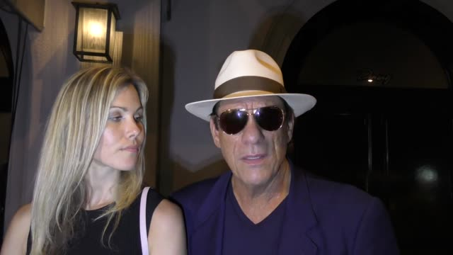 robert davi comments on donald trump's vandalized star & his response to iran outside craig's in west hollywood in celebrity sightings in los angeles, - robert davi stock videos & royalty-free footage