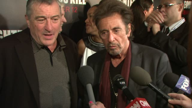 robert de niro al pacino on how it was to work together again playing nypd and making sure to do them justice if they had to ease the nerves of cast... - al pacino stock videos & royalty-free footage
