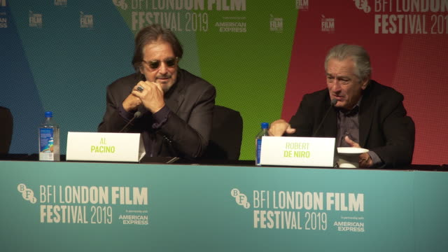 interview robert de niro and al pacino actors on how they felt about looking 40 years younger with cgi 'make up' at 'the irishman' press conference... - al pacino stock videos & royalty-free footage