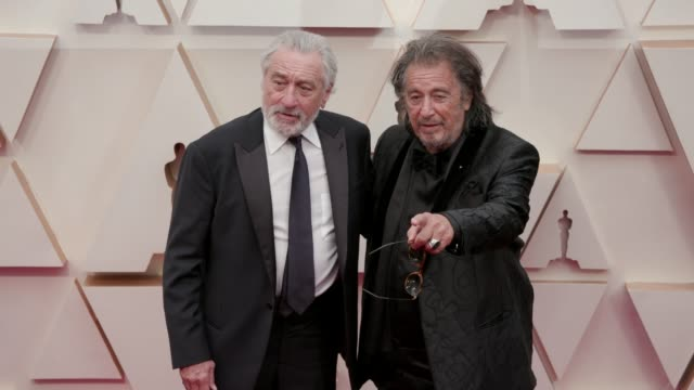 robert de niro and al pacino at the 92nd annual academy awards at dolby theatre on february 09 2020 in hollywood california - al pacino stock videos & royalty-free footage