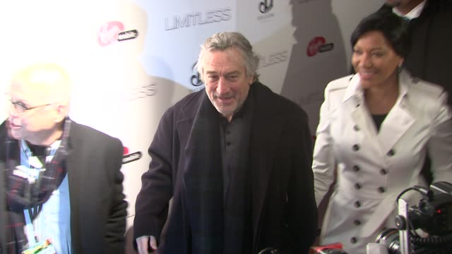 robert de niro and grace hightower at the 'limitless' world premiere arrivals at new york ny - anmut stock-videos und b-roll-filmmaterial