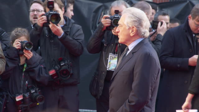 robert de niro at 'the irishman' international premiere 63rd bfi london film festival closing carpet on october 13 2019 in london england - premiere stock-videos und b-roll-filmmaterial