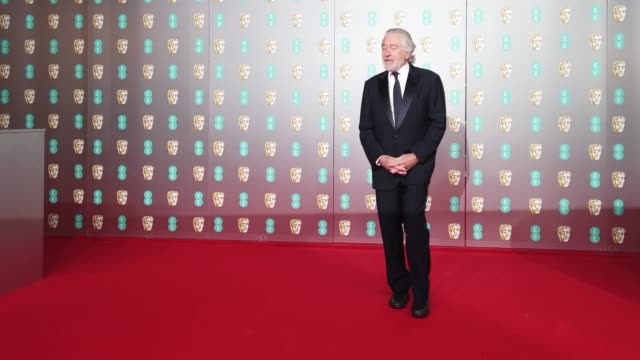 robert de niro attends the ee british academy film awards 2020 at royal albert hall on february 02 2020 in london england - british academy film awards stock videos & royalty-free footage