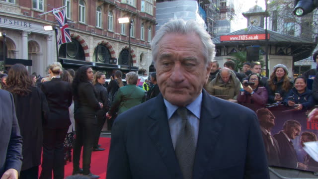 interview robert de niro on how the film was made how he feels about the critical response working with al pacino and seeing himself as a young man... - premiere stock-videos und b-roll-filmmaterial