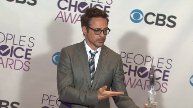 robert downey jr. at people's choice awards 2013 - press room on 1/9/2013 in los angeles, ca. - people's choice awards stock videos & royalty-free footage