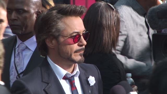 robert downey jr at the 'iron man 2' premiere at hollywood ca - boutonniere stock videos and b-roll footage
