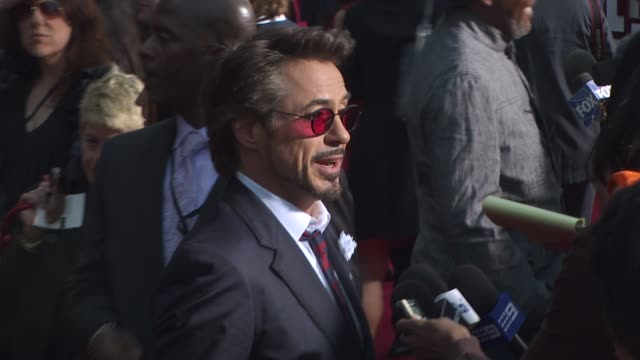 robert downey jr at the 'iron man 2' premiere at hollywood ca - neckwear stock videos and b-roll footage