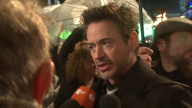 robert downey jr. at the sherlock holmes: a game of shadows: european premiere at the empire leicester square on december 8, 2011 in london, england. - sherlock holmes stock videos & royalty-free footage