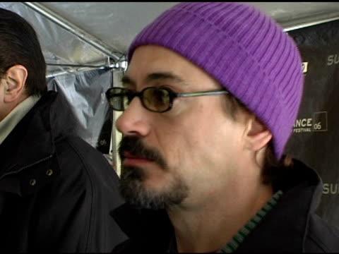 Robert Downey Jr being interviewed by the press at the 2006 Sundance Film Festival 'A Guide To Recognizing Your Saints' Premiere at Racquet Club in...