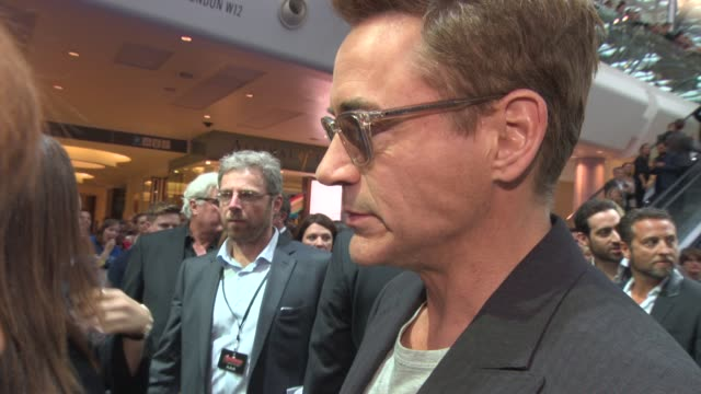 robert downey jr on his life out of film, watching snooker at 'avengers: the age of ultron' premiere at westfield on april 21, 2015 in london,... - premiere event stock videos & royalty-free footage
