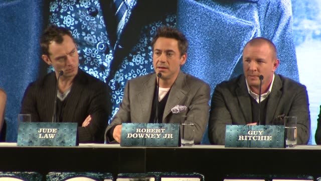 robert downey jr on how he loves to shoot in the uk as the british are so civilised at the sherlock holmes press conference at london england - sherlock holmes stock videos & royalty-free footage