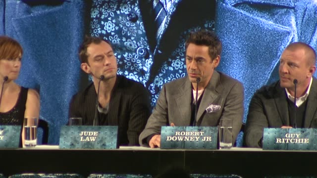 robert downey jr on staying true to source material. at the sherlock holmes press conference at london england. - arthur conan doyle stock videos & royalty-free footage