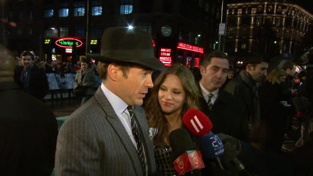 robert downey jr on this performance casting on what distracts him nowadays at the sherlock holmes uk premiere at london england - sherlock holmes stock videos & royalty-free footage