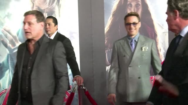 """robert downey jr., samuel l. jackson, chris hemsworth and mark ruffalo were some of the stars on hand at the premiere of """"avengers: the age of... - new age stock videos & royalty-free footage"""