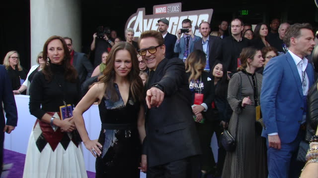 """robert downey jr susan downey at audi at the world premiere of """"avengers endgame"""" in los angeles ca - premiere stock videos & royalty-free footage"""