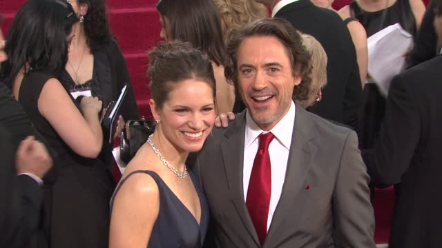 vidéos et rushes de robert downey jr. , susan downey at the 68th annual golden globe awards - arrivals part 2 at beverly hills ca. - golden globe awards