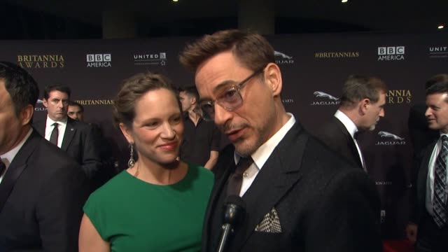 INTERVIEW Robert Downey Jr Susan Downey on the event at 2014 BAFTA Los Angeles Jaguar Britannia Awards Presented by BBC America and United Airlines...