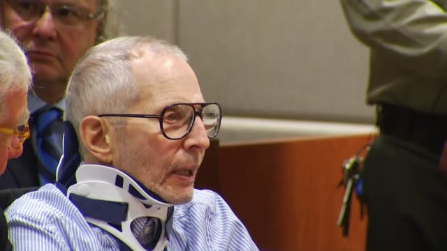 robert durst says he's not guilty of murder charges during his arraignment in los angeles california your honor i am willing to waive my rights i do... - crime or recreational drug or prison or legal trial stock-videos und b-roll-filmmaterial