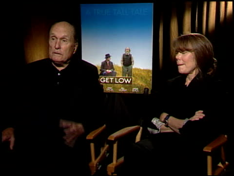 robert duvall and sissy spacek on what is the most important thing they've learned about acting. at the 'get low' junket at los angeles ca. - sissy spacek stock videos & royalty-free footage