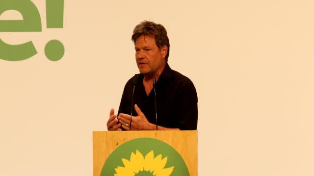 vídeos y material grabado en eventos de stock de robert habeck, co leader of the greens party during his speech at a greens party congress ahead of european elections on may 18, 2019 in berlin,... - number 9