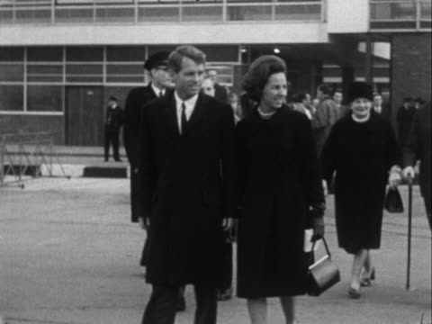 robert kennedy and his wife walk to an aircraft at london airport. - ethel kennedy stock videos & royalty-free footage