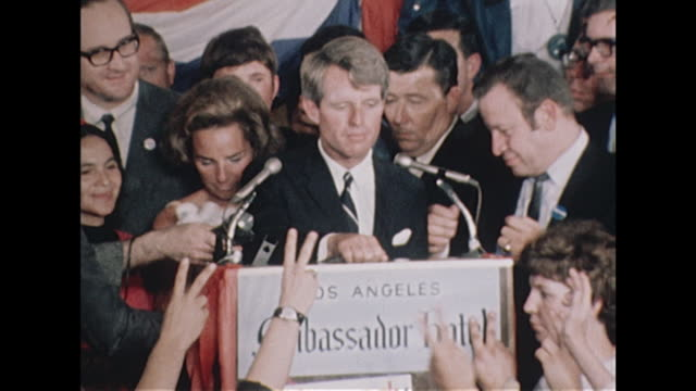 robert kennedy speaks to the crowds at the ambassador hotel following his success in the californian democratic primaries - assassination stock videos & royalty-free footage
