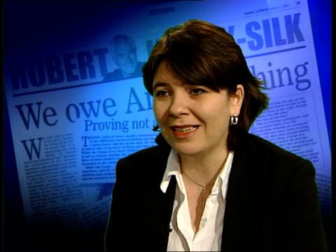 robert kilroy-silk arab row: 'tonight' programme interview; itn claire fox interview sot - ロバート・キルロイ=シルク点の映像素材/bロール