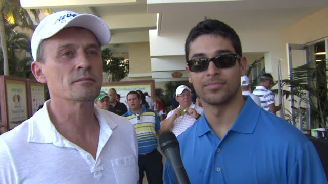 robert knepper and wilmer valderrama on being attending the event on puerto rico and on playing golf today at the 2nd annual amaury nolasco friends... - wilmer valderrama stock videos and b-roll footage