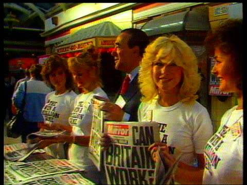 robert maxwell dead london ms side maxwell with young women inj1812cg promoting daily mirror at photocall int cms maxwell at mirror group flotation... - robert maxwell stock videos and b-roll footage