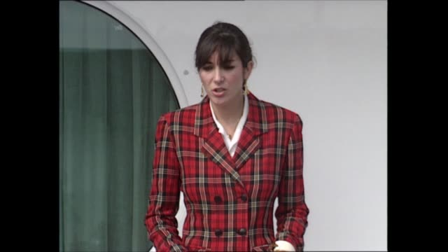 gvs of yacht / ghislaine maxwell statement spain canary islands tenerife santa cruz ghislaine maxwell out onto deck makes statement sof thanking... - ghislaine maxwell stock videos & royalty-free footage