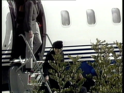 robert maxwell israel jerusalem plane carrying body of robert maxwell landing pan lr tlms elizabeth maxwell and son philip down from aircraft and... - robert maxwell stock videos and b-roll footage