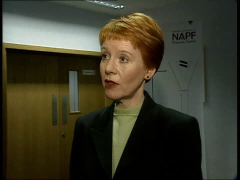 report itn int rhosslyn roberts interviewed sot we had the 1995 pensions act which brought in a lot of legislation so that even someone as... - robert maxwell stock videos and b-roll footage
