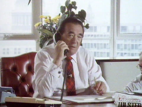 robert maxwell speaks on the telephone at his desk - robert maxwell stock videos and b-roll footage