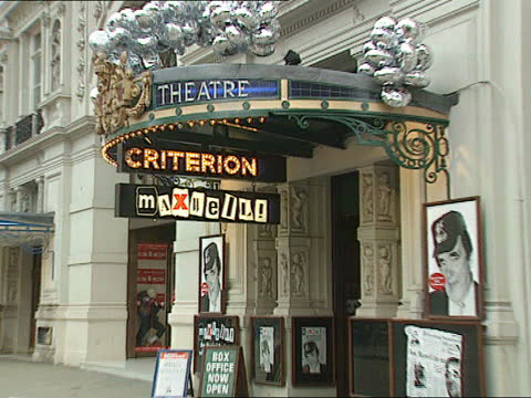robert maxwell the musical:; c)nao england: london: piccadilly: criterion theatre: ext cms sign 'criterion' with 'maxwell' underneath pull out side... - itv news at one stock videos & royalty-free footage