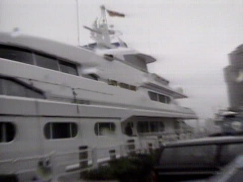 robert maxwell's private yacht the lady ghislaine is moored in a harbour - ghislaine maxwell stock videos & royalty-free footage