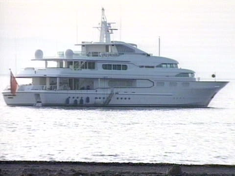 robert maxwell's private yacht the lady ghislaine is moored off the coast of tenerife following his death - ghislaine maxwell stock videos & royalty-free footage